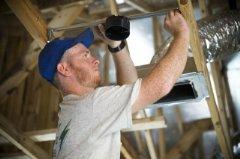 Derek Dillon, Tri County Electric, helps kick off Habitat�s 2014 Home Builders Blitz in Jacksonville, Florida.