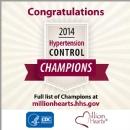 Million Hearts Recognizes 2014 Hypertension Control Champions
