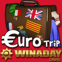 Bonuses this weekend to try new Euro Trip slot game at WinADay Casino.