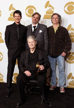 Beach Boys win first-ever Grammy Award. Clockwise : �The Smile Sessions� producers Dennis Wolfe, Alan Boyd, Mark Linett, and Brian Wilson
