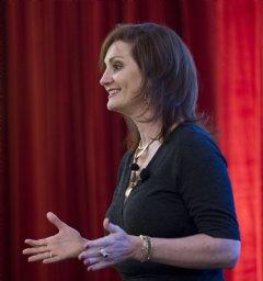 Michele Molitor, executive coach giving a talk on women�s leadership.
