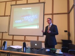 Guest speaker Andrew Marritt, founder of OrganizationView, discusses the utilization of algorithms to predict behavior.
