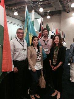TWI�s Andy Pena (far left) & Benjamin Castor (2nd from right) with Zhibek Karamanova, Founder-Dining Smart; & Aliya Shaikhina, US Commercial Services