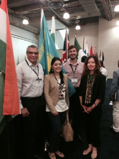 TWI�s Andy Pena (far left) & Benjamin Castor (2nd from right) with Zhibek Karamanova, Founder-Dining Smart; & Aliya Shaikhina, US Commercial Services