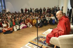 His Holiness the Dalai Lama addressing members of the local Tibetan community at the Museum for Modern Art in Frankfurt on 5/15/14 Photo Manuel Bauer
