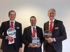 Erik Peeters Mrktg Mngr Commercial-Security Software, Tom Cloots Mrktg Mngr Industrial Inkjet, & Paul Adriaensen PR Mngr with 3 EDP Awards for Agfa