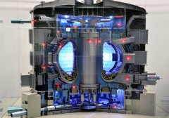 A 1:50-scale model of the ITER Tokamak, complete with lights indicating the major sub-systems. Credit: � ITER Organization, www.iter.org/